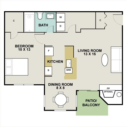 685 sq. ft. Bonzai floor plan