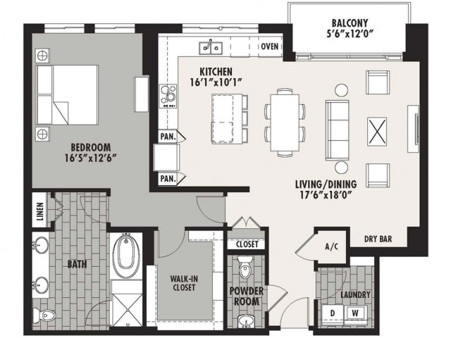 1,297 sq. ft. Preston(A.6) floor plan