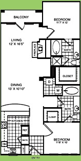 1,194 sq. ft. B2K floor plan