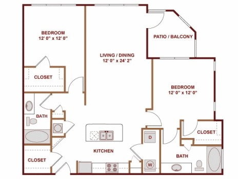 1,176 sq. ft. Sao Paolo floor plan