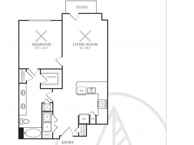 812 sq. ft. A4T floor plan