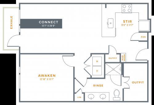 847 sq. ft. A4 floor plan