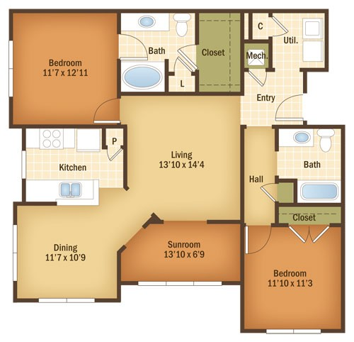 1,239 sq. ft. Cottonwood floor plan
