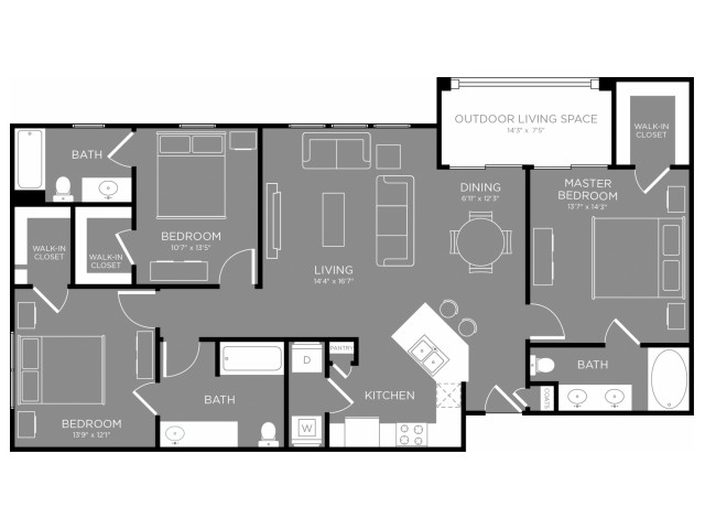 1,408 sq. ft. Skyline floor plan