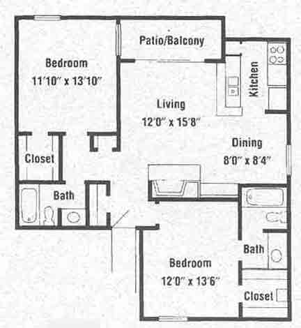 936 sq. ft. B3 floor plan