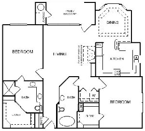 1,253 sq. ft. C2 floor plan