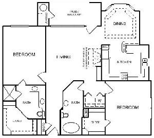 1,253 sq. ft. C2 floor plan