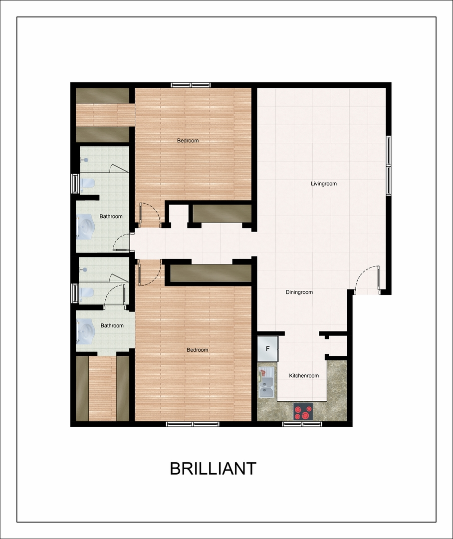 1,164 sq. ft. Brilliant floor plan