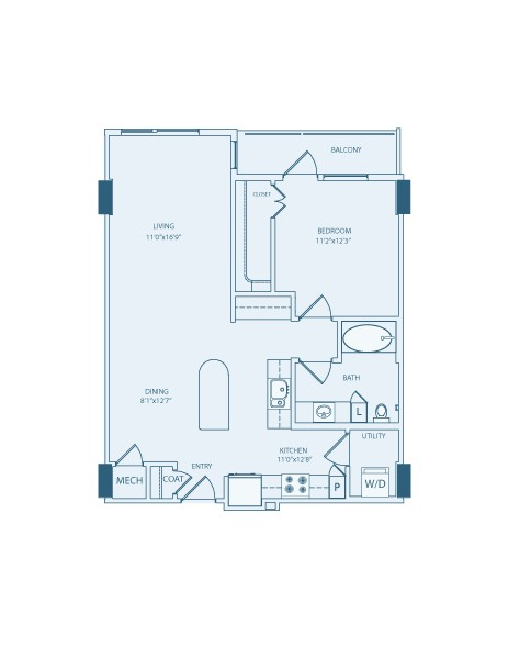 845 sq. ft. A5A floor plan