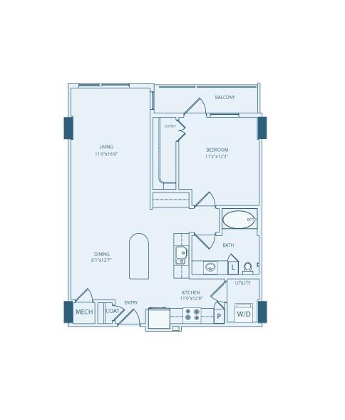 845 sq. ft. A5A floor plan