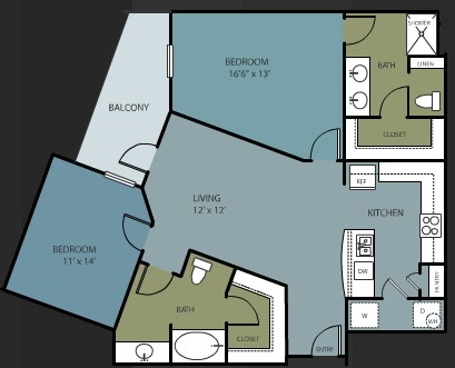 1,162 sq. ft. B3 floor plan