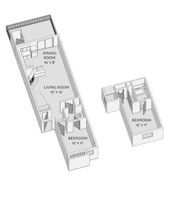 1,024 sq. ft. D floor plan
