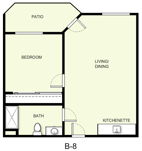 680 sq. ft. B8 floor plan