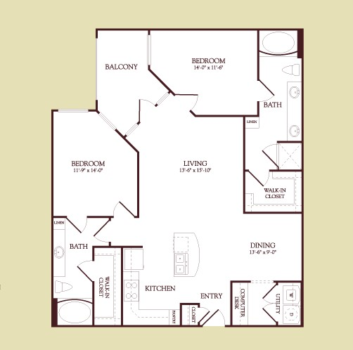 1,206 sq. ft. MONET floor plan