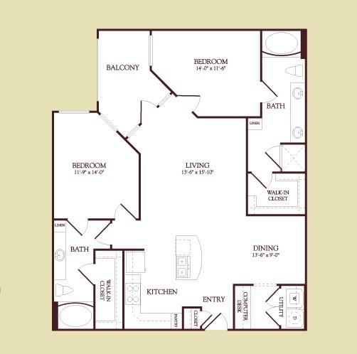 1,206 sq. ft. Monet floor plan