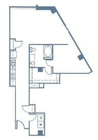 906 sq. ft. A6 floor plan