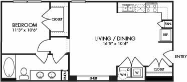687 sq. ft. St. Lucia floor plan