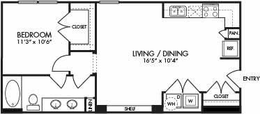 687 sq. ft. St. Lucia floor plan