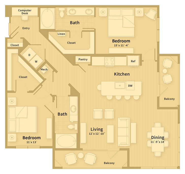 1,417 sq. ft. E3 floor plan