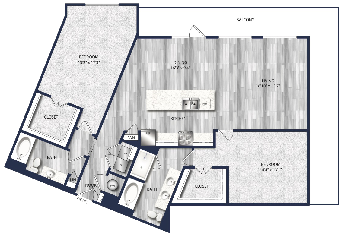 1,552 sq. ft. B5 floor plan