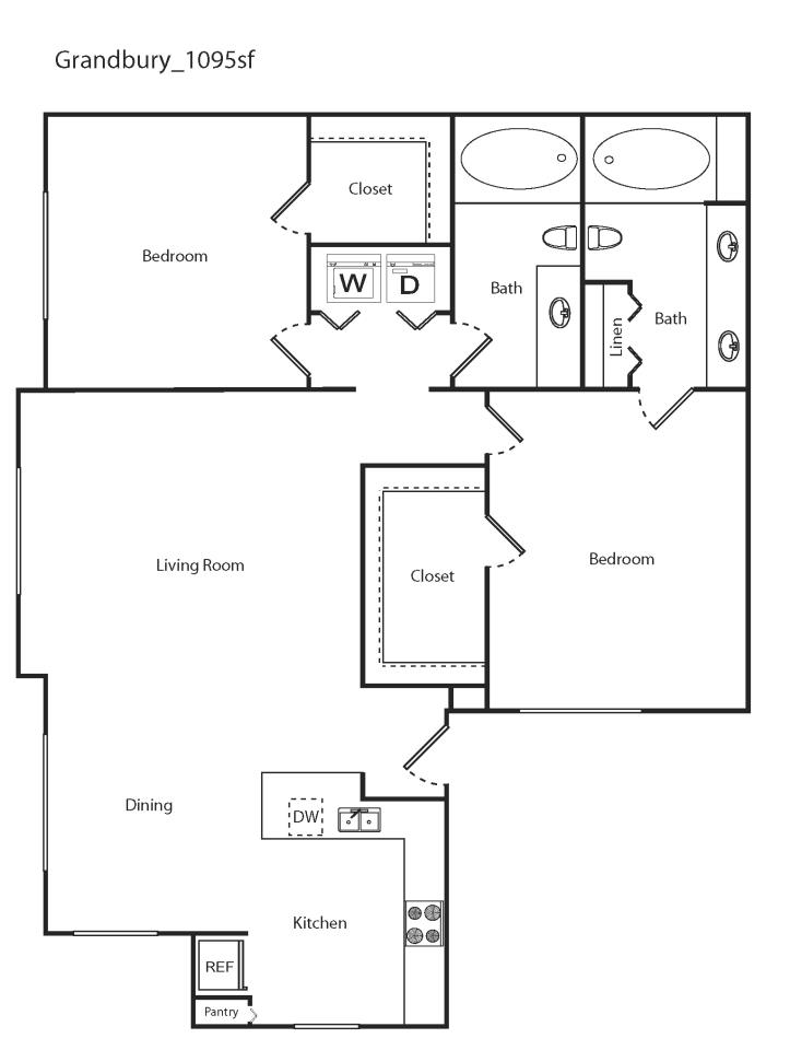 1,095 sq. ft. Grandbury floor plan