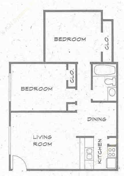 768 sq. ft. B1 PH I floor plan