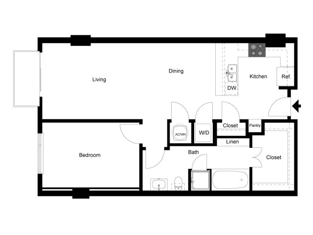 1,225 sq. ft. Loft 1J floor plan