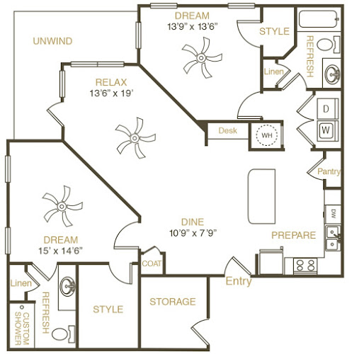 1,280 sq. ft. B3 floor plan