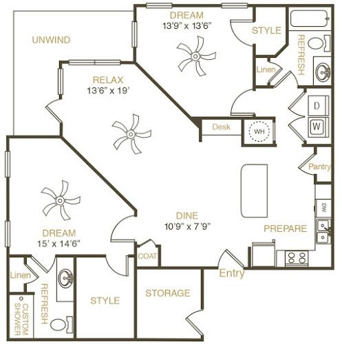 1,280 sq. ft. B3 floor plan
