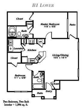 1,096 sq. ft. B2 floor plan