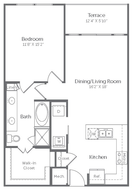 832 sq. ft. A11 floor plan