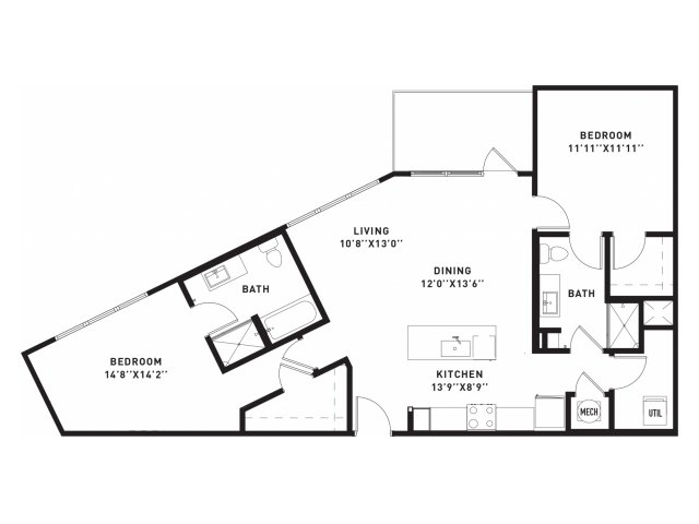 1,134 sq. ft. B6 floor plan