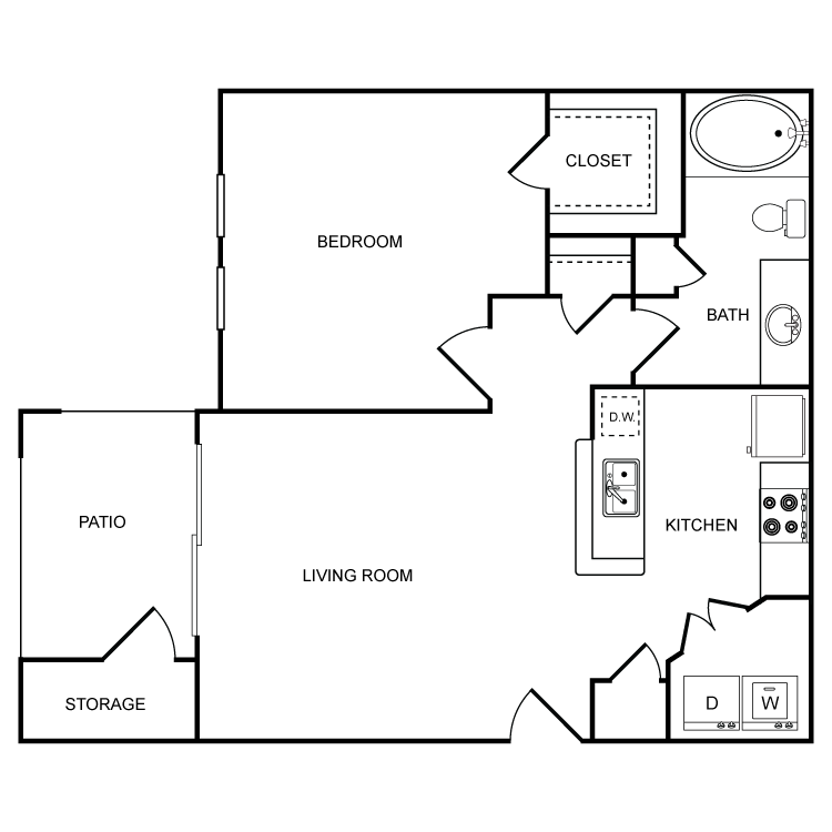 637 sq. ft. A1 floor plan