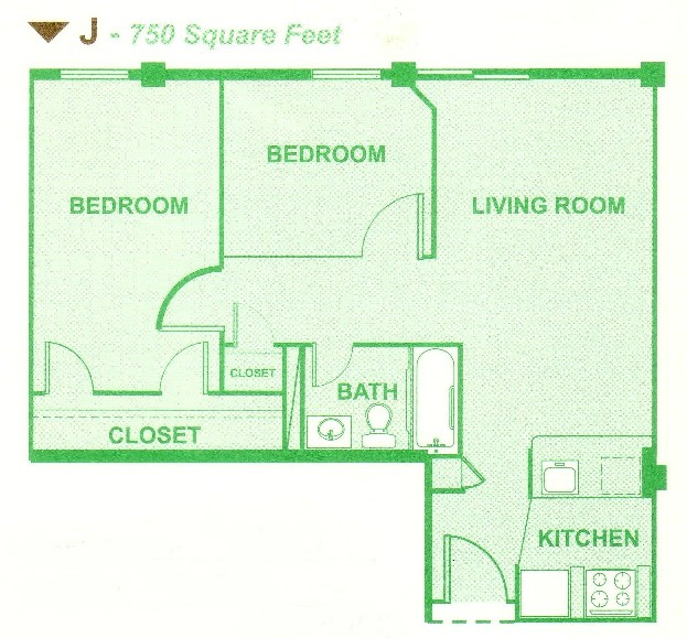750 sq. ft. J floor plan