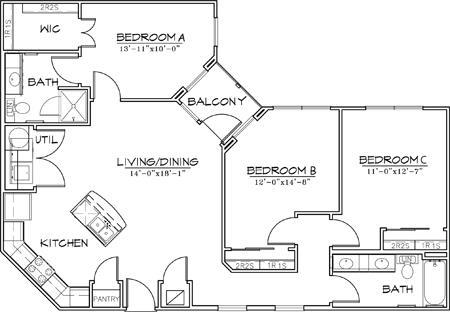 1,212 sq. ft. floor plan
