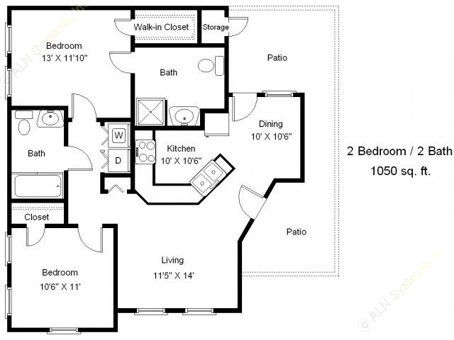 1,050 sq. ft. B2-60 floor plan