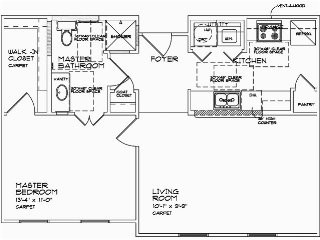 700 sq. ft. A1 60% floor plan