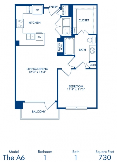 730 sq. ft. A6 floor plan