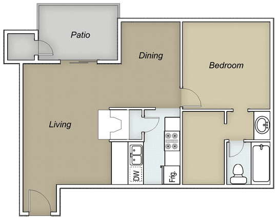 668 sq. ft. A1C floor plan