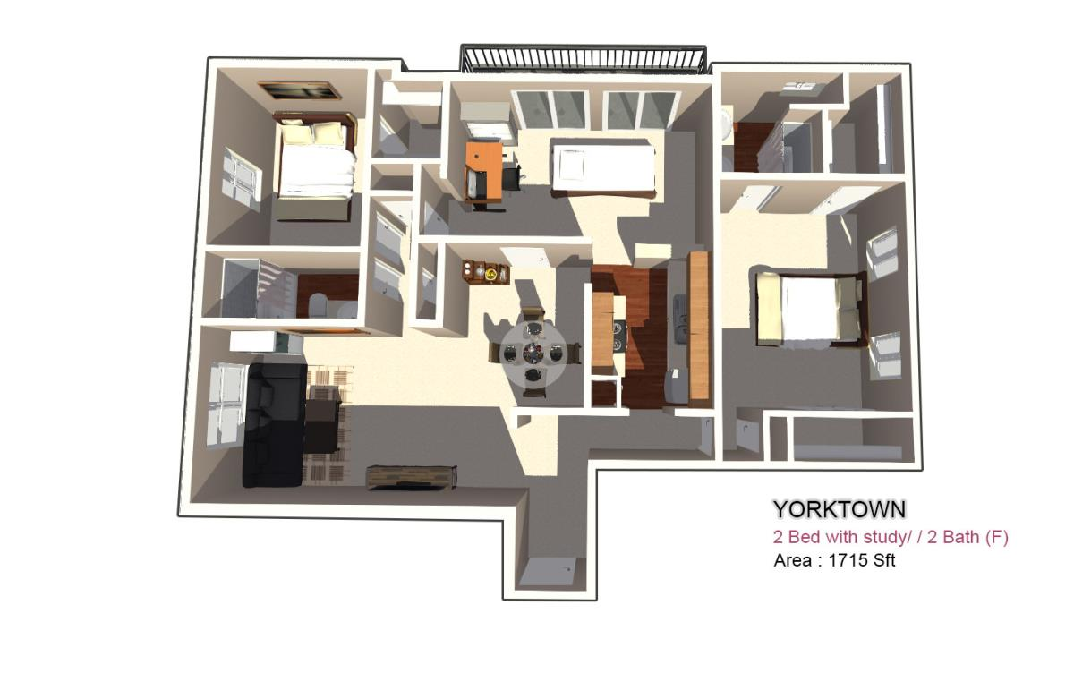 465 sq. ft. 1X1 floor plan