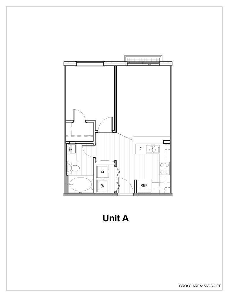 560 sq. ft. A floor plan