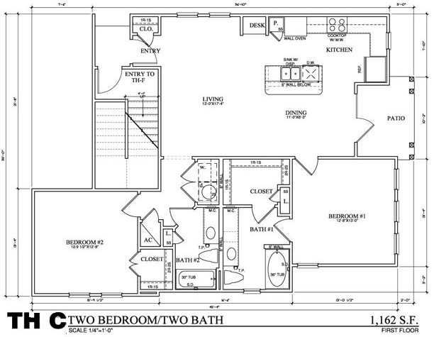 1,162 sq. ft. TH C floor plan