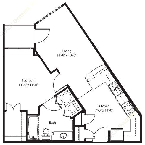 595 sq. ft. Blanco floor plan