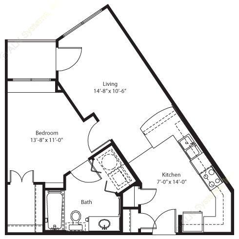 595 sq. ft. Blanco floor plan
