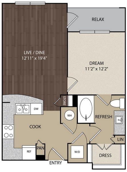 687 sq. ft. A2A floor plan