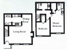 1,010 sq. ft. D floor plan