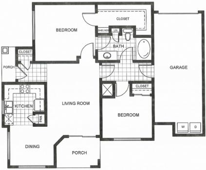 943 sq. ft. E1/E1S floor plan