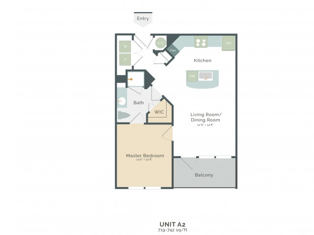 719 sq. ft. to 742 sq. ft. A2 floor plan