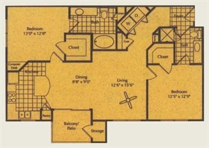 1,108 sq. ft. B2 floor plan