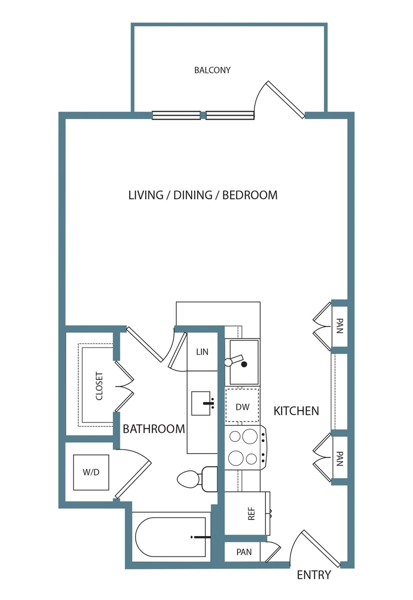 502 sq. ft. S1 floor plan